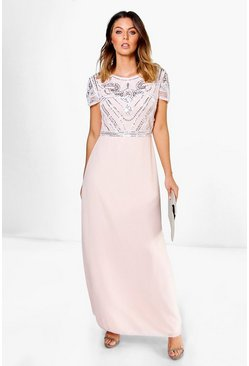 Collection robe maxi avec top à ornements, Blush, Femme