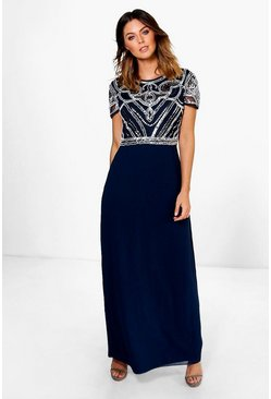 Womens Navy Boutique Embellished Top Maxi Dress