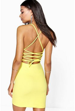 Womens Yellow Sarah Lace Up Back Detail Plunge Bodycon Dress