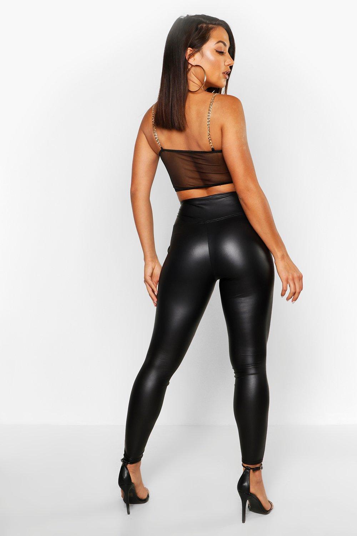 cuero negro skinny de efecto Leggings cintura alta y xn8f0wS1Y