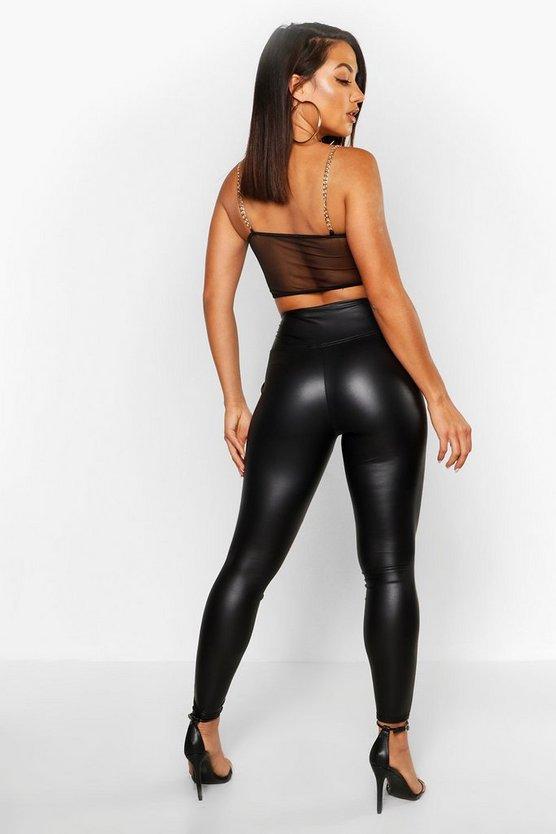 High Waist Leather Look Stretch Leggings