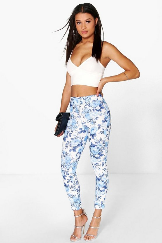 Bea Crepe Turn Up Floral Skinny Trousers