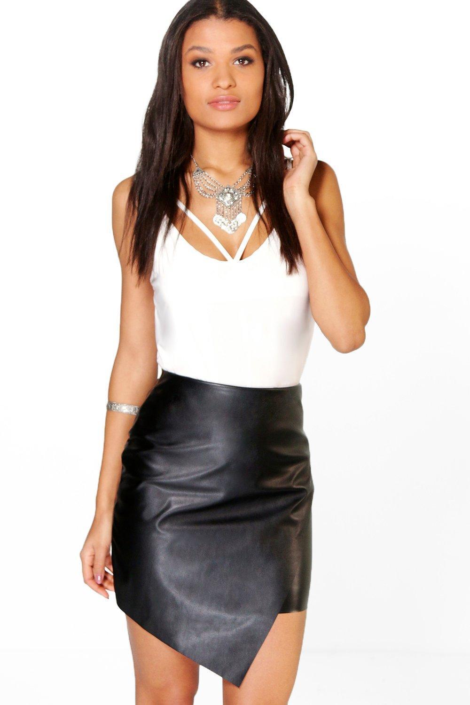 4c316d16c5 Aurelia Asymetric Leather Look Mini Skirt | Boohoo