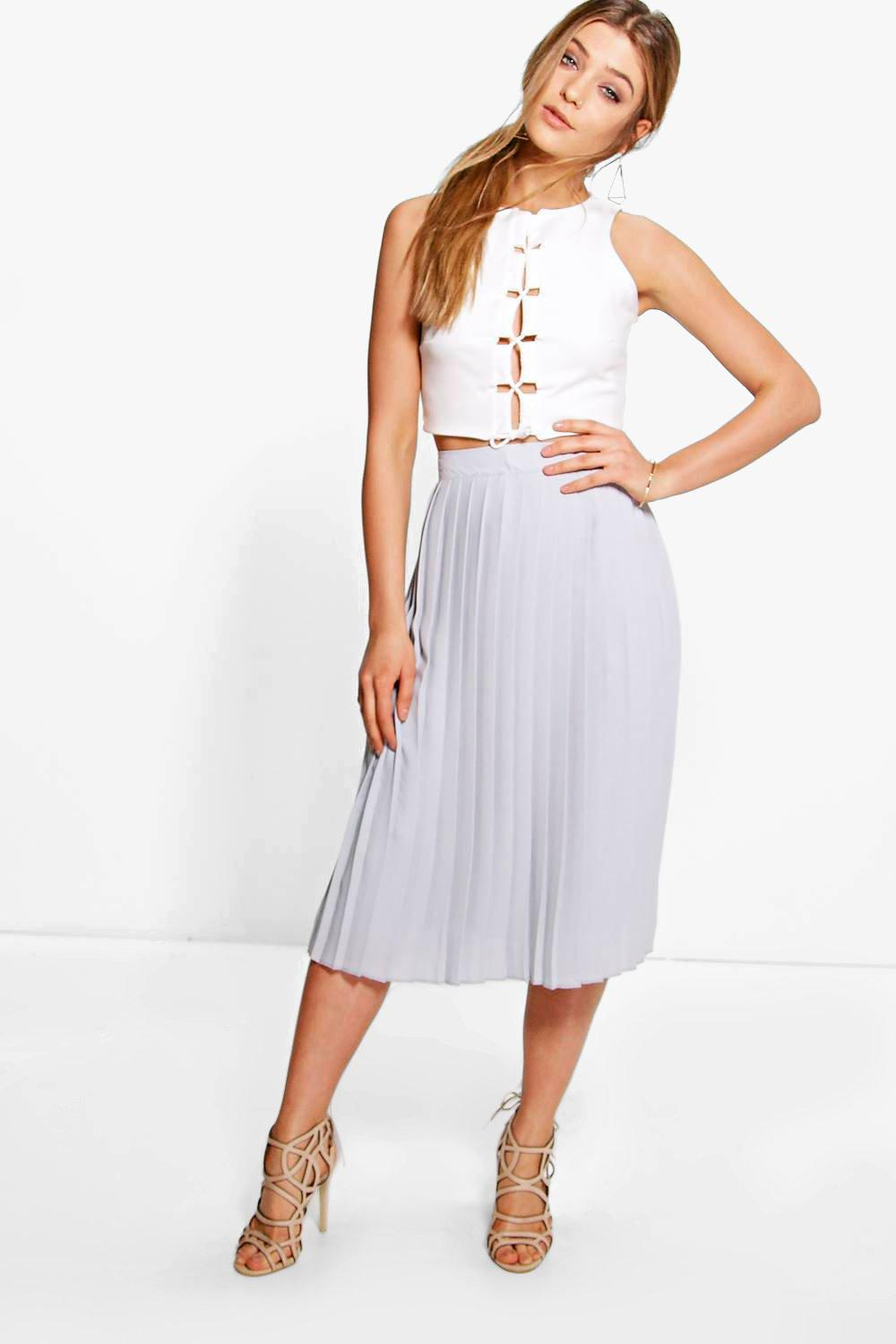504d99784 Womens Grey Chiffon Pleated Midi Skirt. Hover to zoom