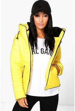 Womens Mustard Maya Quilted Zip Detail Jacket