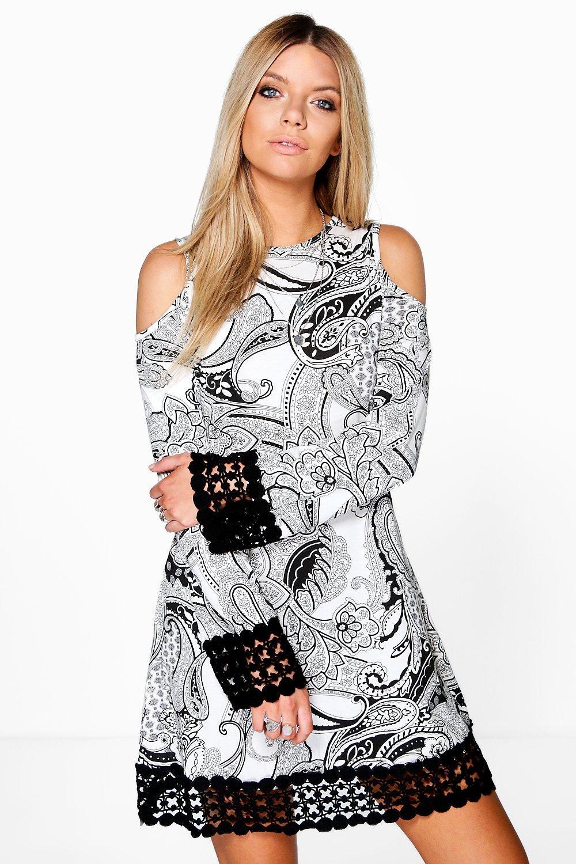 Katty Crochet Hem Boho Cold Shoulder Dress  33587841f