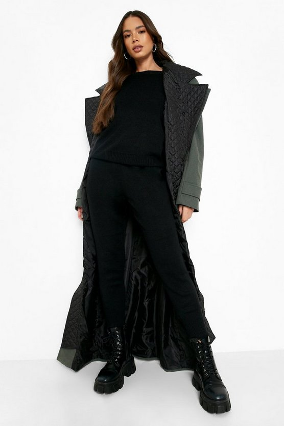 Womens Black Boutique Heavy Knitted Loungewear Set