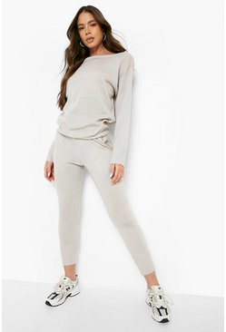 Boutique Grob gestricktes Loungewear-Set, Grau, Damen