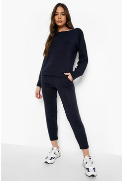 Navy Boutique Heavy Knitted Loungewear Set