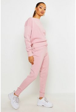 Boutique Grob gestricktes Loungewear-Set, Rosa, Damen