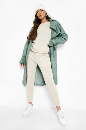 Womens Stone Boutique Heavy Knitted Loungewear Set
