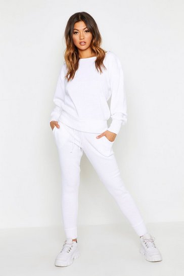 Womens White Boutique Heavy Knitted Loungewear Set