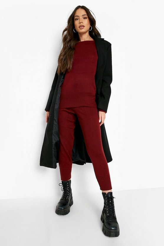 Womens Wine Boutique Heavy Knitted Loungewear Set