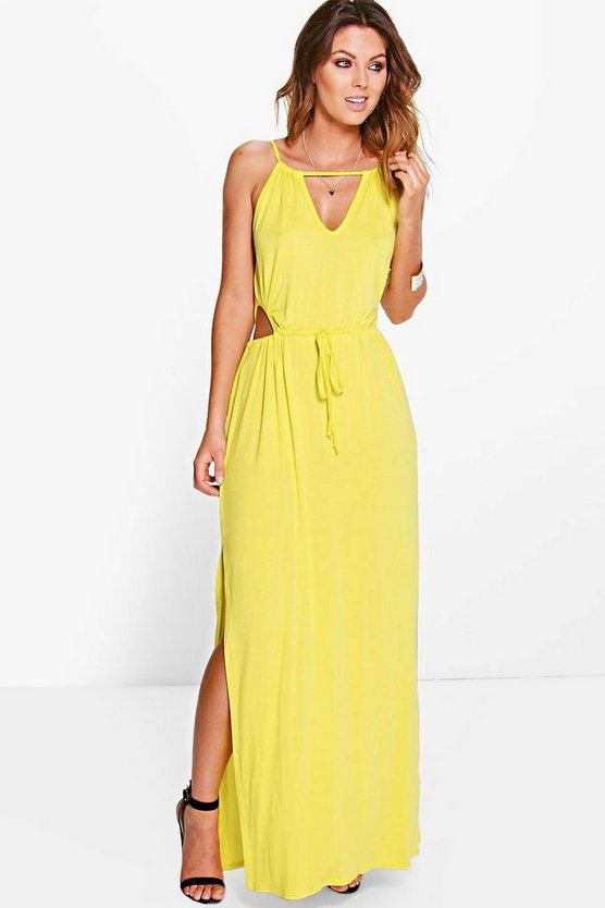 Womens Lime Taylor Cut Out Detail Maxi Dress