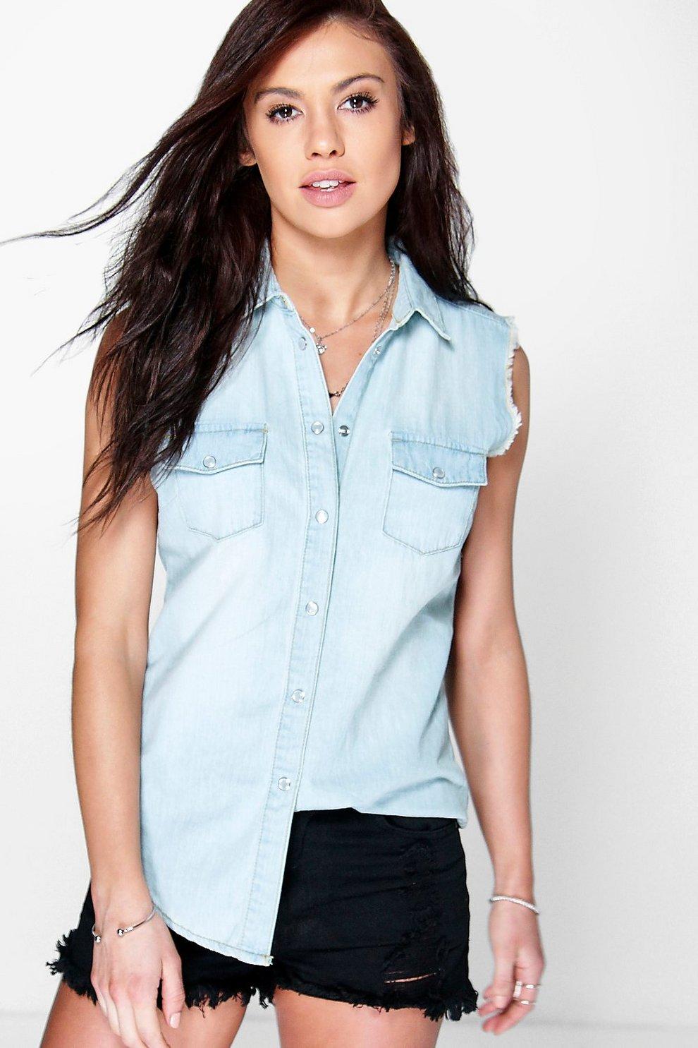 707f163fe0085d Angela Light Wash Sleeveless Denim Shirt