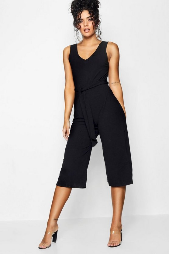 Womens Black Basic Ribbed Culotte Jumpsuit