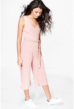 Tuta intera a coste con gonna-pantaloni e cintura, Blush