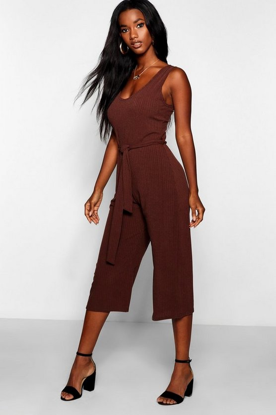 Basic Ribbed Culotte Jumpsuit
