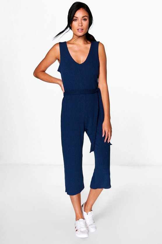 Womens Navy Basic Ribbed Culotte Jumpsuit