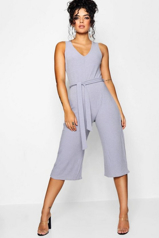 Silver Basic Ribbed Culotte Jumpsuit