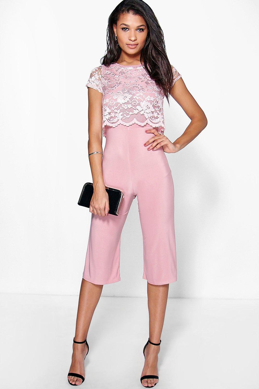 Mono largo estilo falda pantalón con capa de encaje | Boohoo