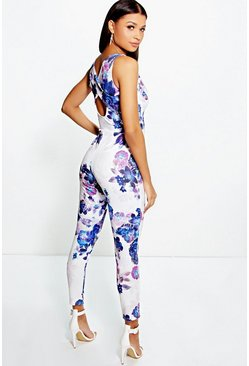 Womens Multi Bold Floral Print Cross Back Jumpsuit