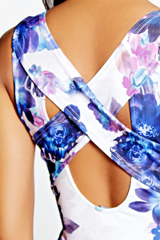 cruzada de Estampado espalda Multicolor grande largo mono Floral xqWnPvYwRz