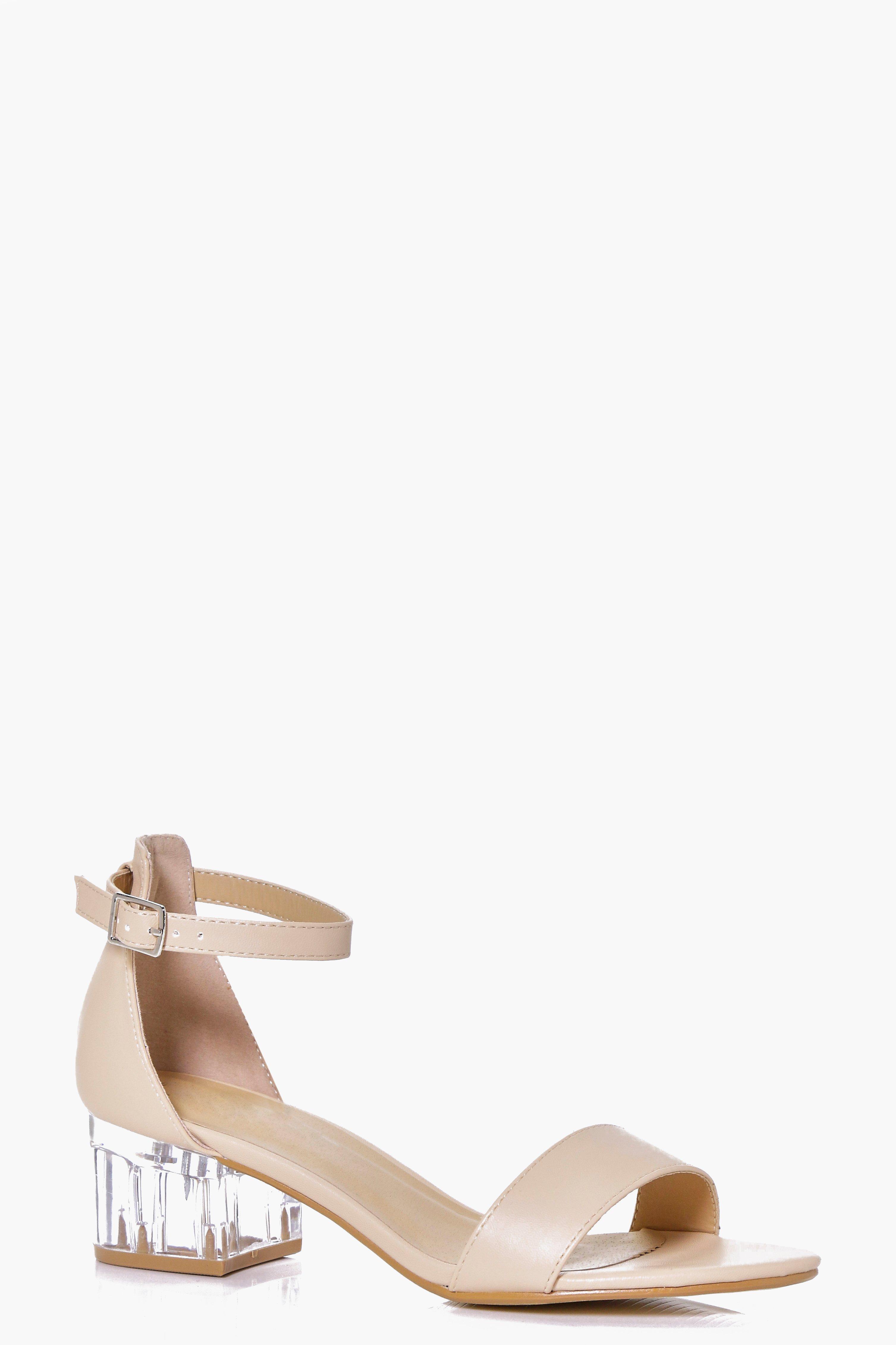 Violet Clear Low Block Heel Sandal | boohoo