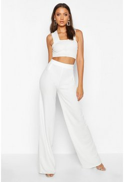 Womens Ivory Tall Wide Leg Pants