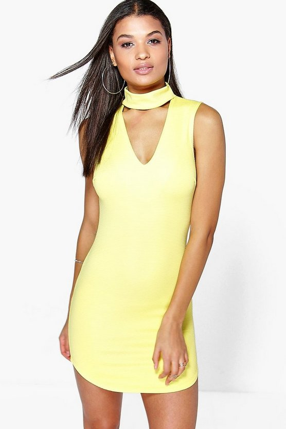 Cut Out Front Textured Bodycon Dress