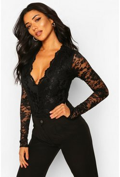 Black Tall Lace Long Sleeved Body