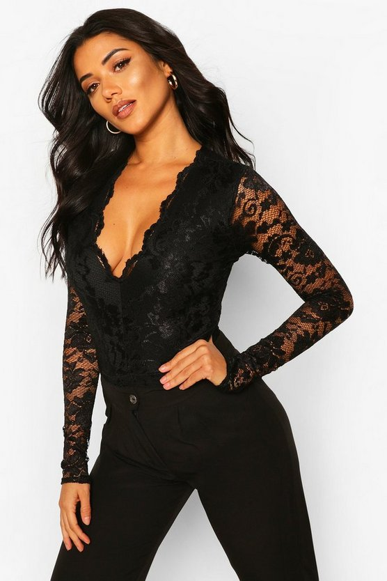 Womens Black Tall  Lace Long Sleeved Body