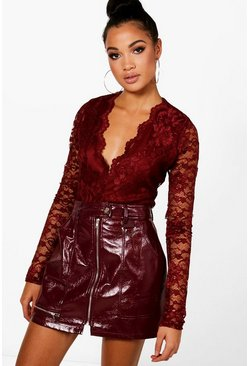 Womens Wine Tall  Lace Long Sleeved Body