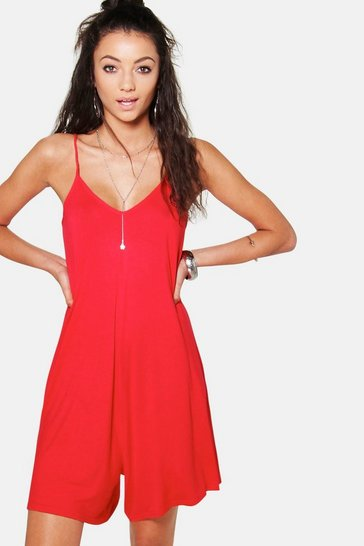 Womens Red Tall Swing Playsuit