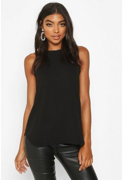 Womens Black Tall High Neck Strap Top