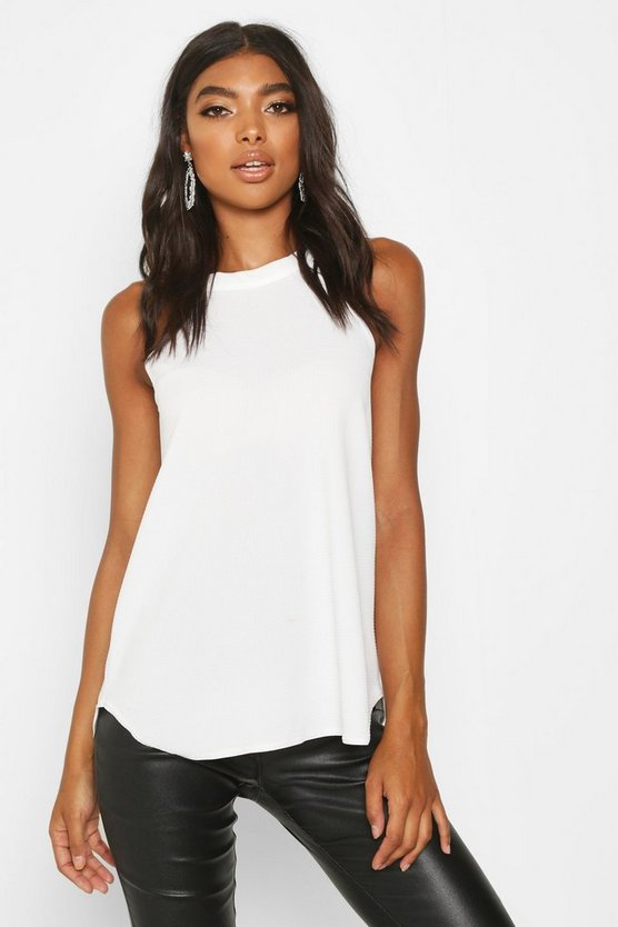 Cream Tall High Neck Strap Top