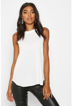 Womens Cream Tall High Neck Strap Top
