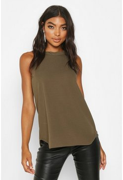 Womens Khaki Tall High Neck Strap Top