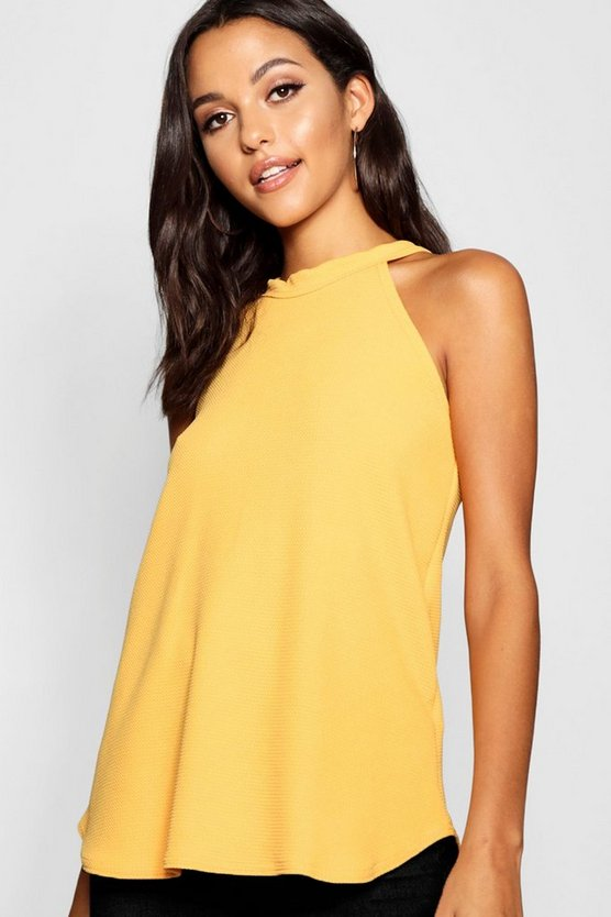 Mustard Tall High Neck Strap Top