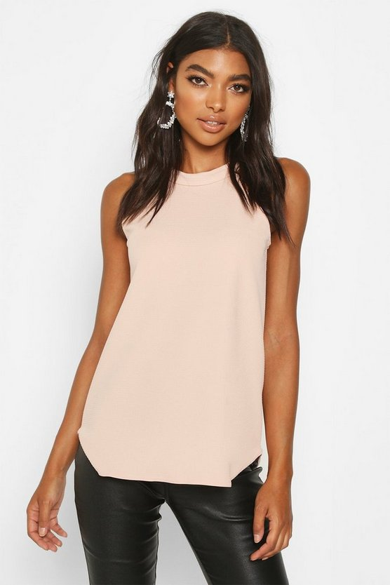 Womens Nude Tall High Neck Strap Top