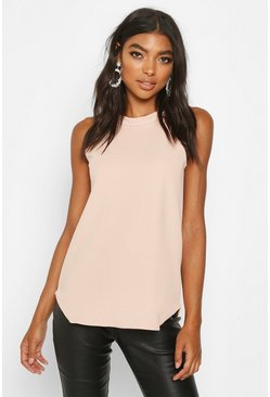 Nude Tall High Neck Strap Top