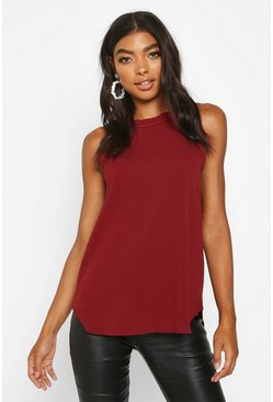 Womens Wine Tall High Neck Strap Top
