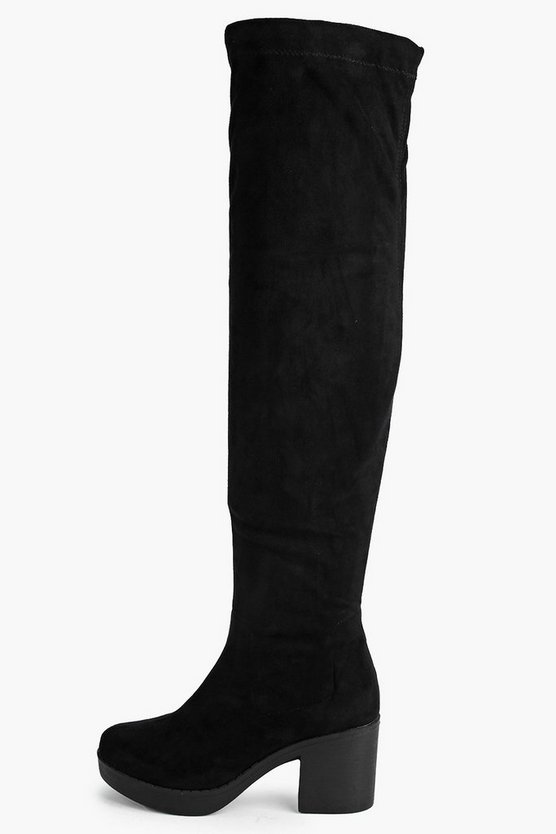 Cleated Stretch Over The Knee Boots