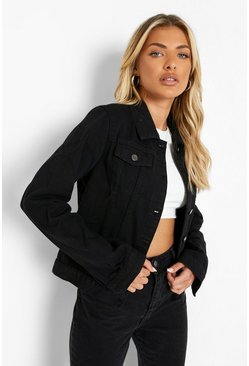 Black Slim Fit Western Denim Jacket