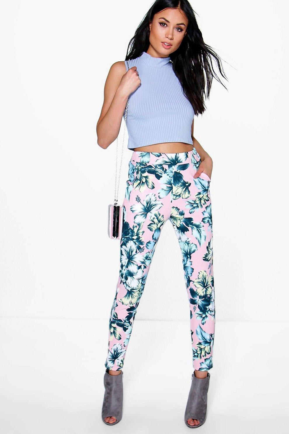 Pantaloni Skinny Yasmin pastello con motivi floreali  767505a9c531