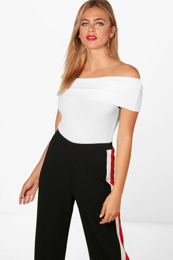Womens White Lara Ribbed Bardot Off The Shoulder Bodysuit