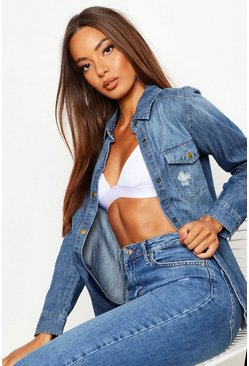 Womens Mid blue Distressed Denim Shirt