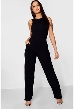 Womens Black Round Neck Textured Jumpsuit