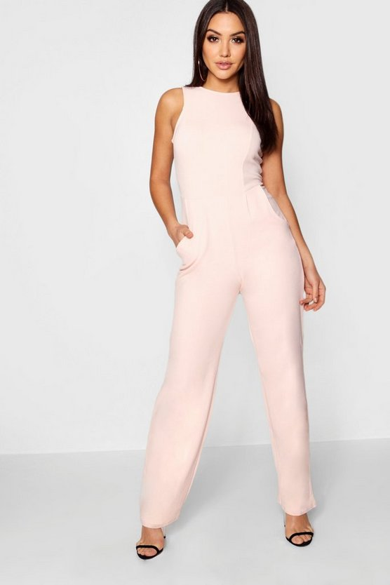 Womens Blush Round Neck Textured Jumpsuit