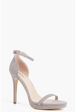 Womens Grey Single Platform Two Part Heels